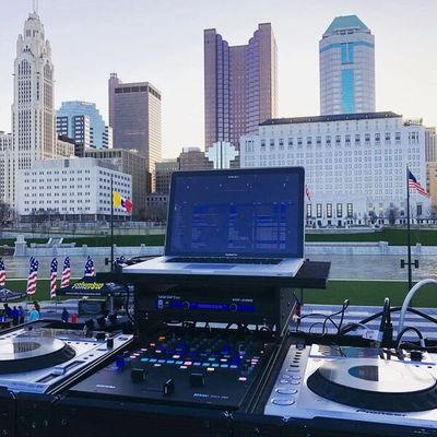 Columbus Skyline with DJ Setup
