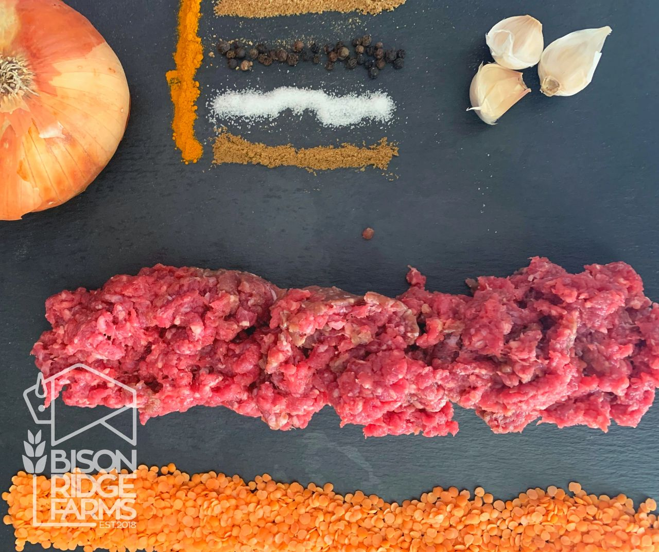 Ingredients to make red lentil soup with bison meatballs