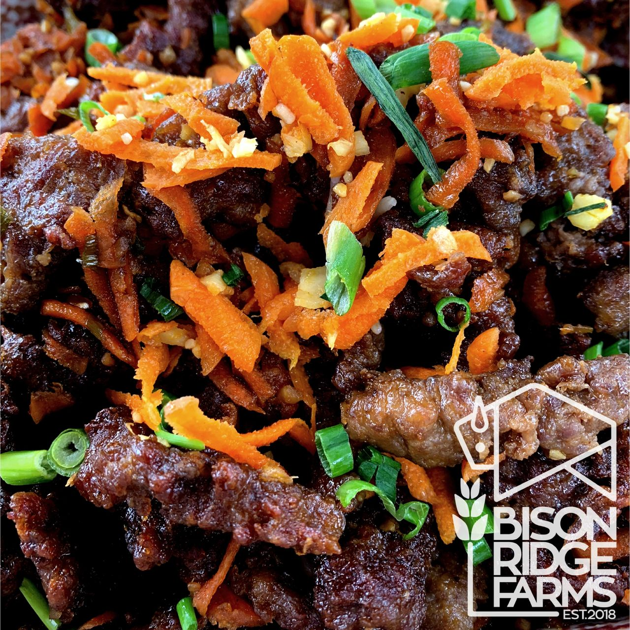 Ginger bison with grated carrots