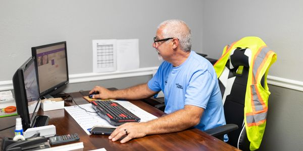 Our owner working at his desk