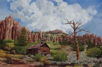oil painting landscape church mountains Lisa Petry-Burt