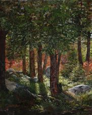 Forest Sanctuary oil painting forest woodland trees by Lisa Petry-Burt