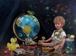 oil painting tommy's world doll globe toys Lisa Petry-Burt