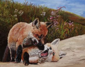 oil painting linen fox kits playing by Lisa Petry-Burt