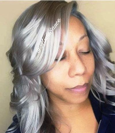 Indian Human Hair w/ Lace Closure Install and Silver Gray Custom Color by Pernell Baptiste