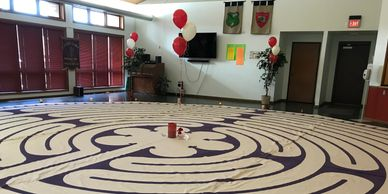 Labyrinth is set up in the fellowship hall for Pentecost.