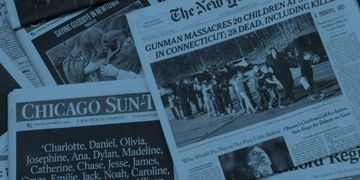 Newspaper front pages depicting mass shooting incidents