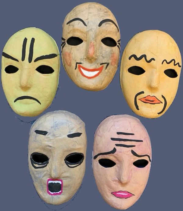 the masks of the 5 emotions