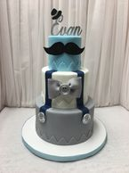 Design Me A Cupcake, Cambridge Ontario, 3 tier Baby Shower Cake - Gender  - Male, Blue, Grey White