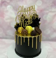 Black buttercream gold drip cake by Design Me A Cupcake, Cambridge Ontario