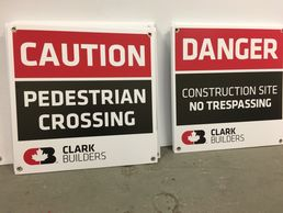 "24"" x 24"" coroplast construction signs with grommets."