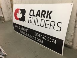 construction coroplast signs full colour prints or cut vinyl,  always comes with standard grommets. We can also design your sign catalog for easy re-ordering.