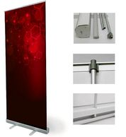 roll up banner stands comes in many different sizes even small table top sizes.