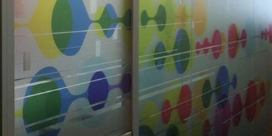 Decorative frosted vinyl for office or home use for additional privacy with style.