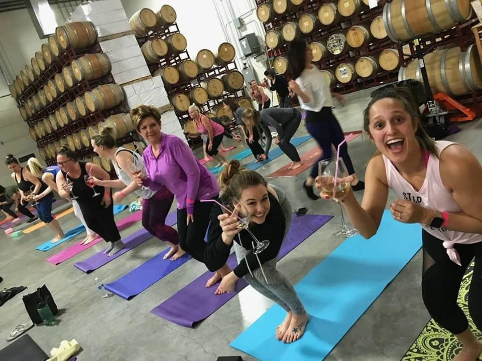 Wine & Yoga at 11 am on Sunday, March 24th (Food Truck, too!)