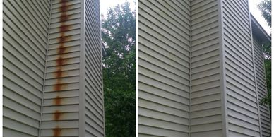 Peak Power Pressure Washing Rust Stain Removal Results Rust Stain on Vinyl Siding Before After Cleaning