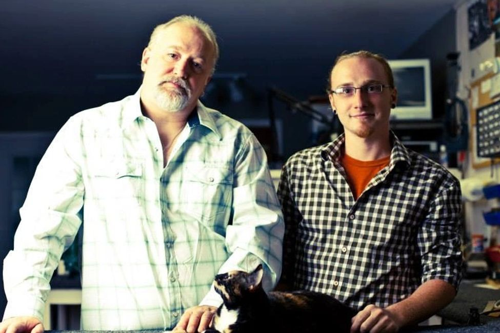 Dan and his son Erik (11/15/1984-5/1/2014) who worked at Blom Guitars.