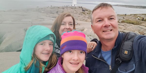 Family Selfie at Peggy's Cove, Nova Scotia, Canada