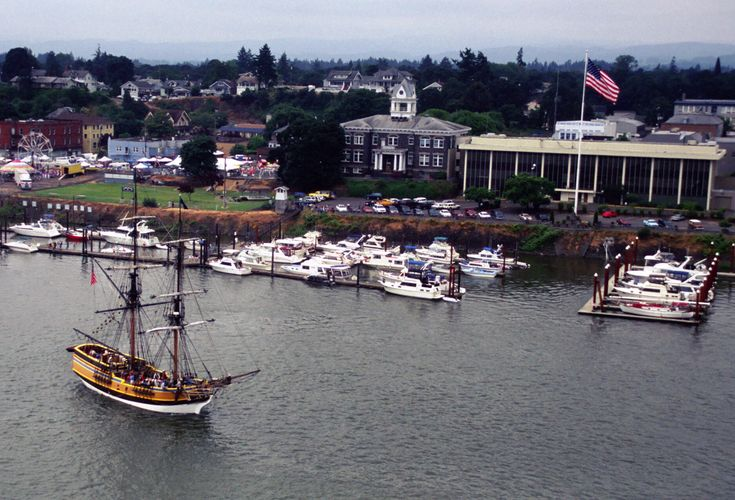 The Lady Washington visiting St. Helens, Oregon. Ariel photo by John Knight