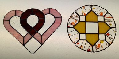 Creatively Glass & more Beginner 2 glass foiling technique Stained Glass class sample projects