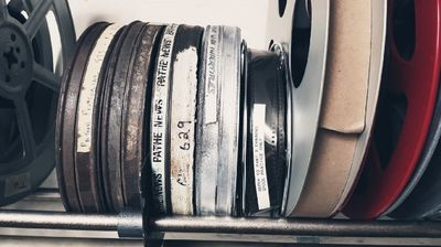A picture of old film canisters