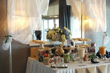 candy buffet display with drape and lighting Lightfoot Premier Entertainment DJ's and Party Planning