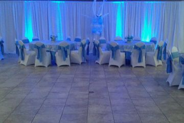 Lighting and white linen decor, Lightfoot Premier Entertainment DJ's and Event Planning