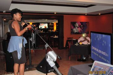 Karaoke stage singer Lightfoot Premier Entertainment DJ's and Event Planning