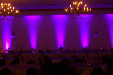 Lightfoot Premier Entertainment DJ's and Event Planning Services. Uplighting Wedding display.
