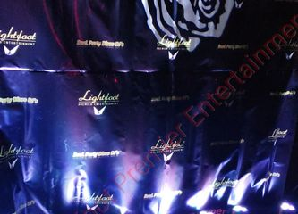 Image, Lightfoot Premier Entertainment Backdrop with flower gobo, color uplights Rental