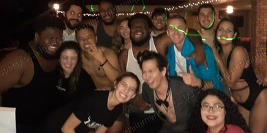 Party guest having fun group photo smiling at Miami NYE party, DJ Lightfoot Premier Entertainment
