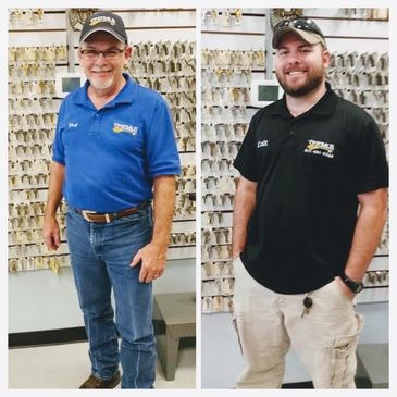 Left: Ted (Owner) runs our locksmith shop Right: Colt (the son) runs our mobile service