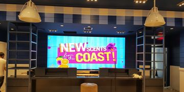 Bath and Body Works video wall with media content