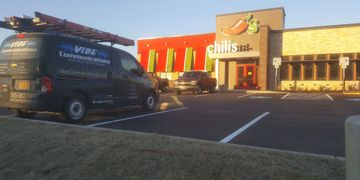 Chilis Restaurant completed with our van out front