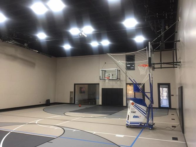 Basketball gym project. This gym was added to a residential property in Fort Worth.