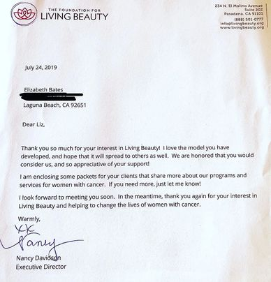 The Foundation for living beauty  PROVIDES FREE SUPPORT SERVICES TO WOMEN LIVING WITH CANCER