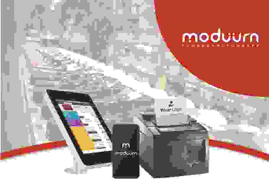 Tablet, cell phone and thermal printer pictured in front of the Moduurn logo