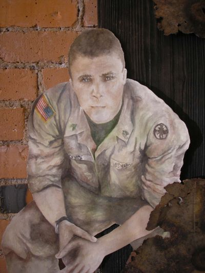 The author by local Montana artist, Melissa Benson, for her anti-war statement.