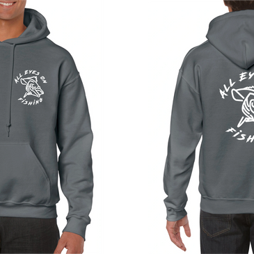all eyes on fishing logo hoodies