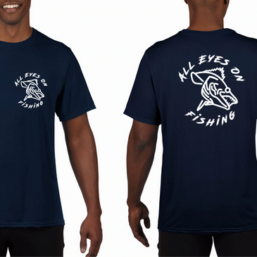 all eyes on fishing logo T shirts