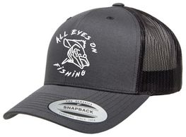 all eyes on fishing logo attire retro trucker cap