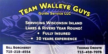 All Eyes on Fishing fishing guide service index for Wisconsin and Team Walleye Guys guide services.