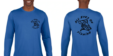 all eyes on fishing long sleeve logo apparel