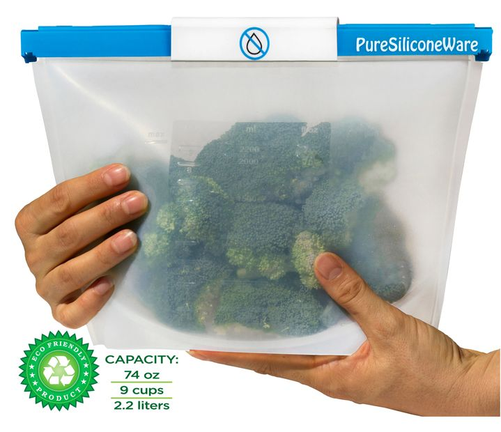 PureSiliconeWare silicone bag used for storage of broccoli