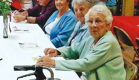Seniors, women, walker, eating, lunch, Meals on Wheels, Strafford County