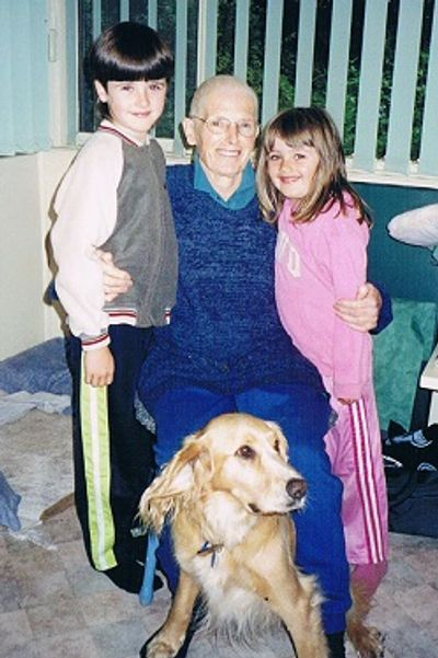 This is mum after chemo, with my children aged 8 and 5 and her dog Billy.
