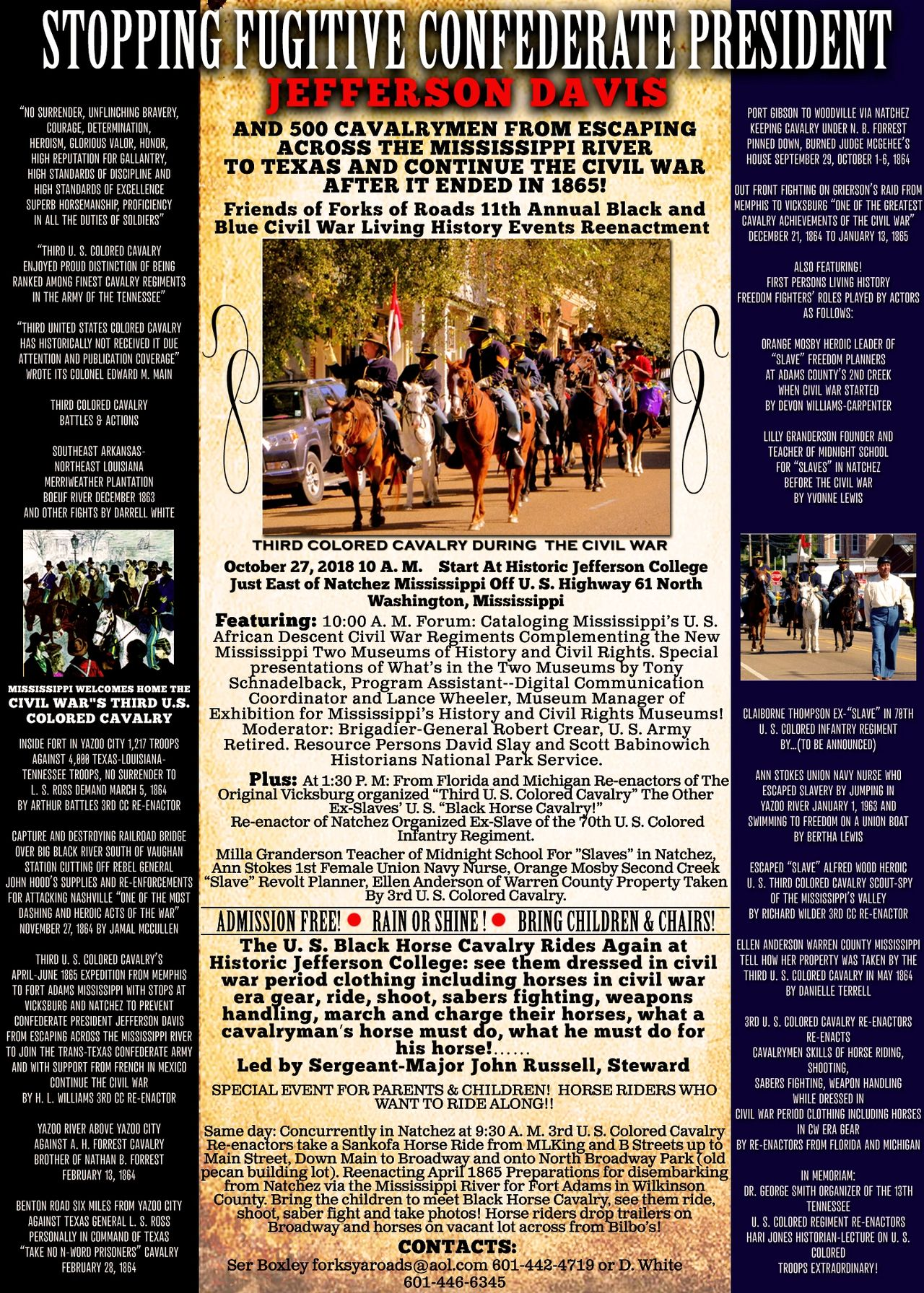 This Year's Black & Blue Civil War Re-enactment Info Poster