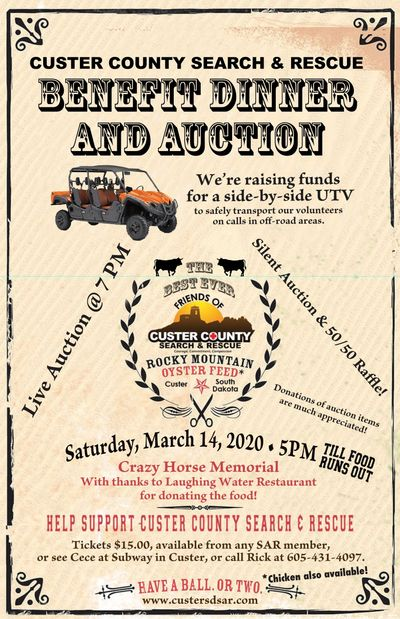 2020 Benefit Dinner and Auction.  March 14th - Crazy Horse Memorial - 5PM