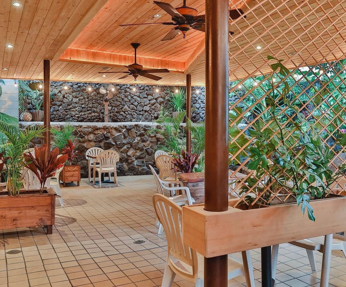 Outdoor lanai dining. Take-out also available.