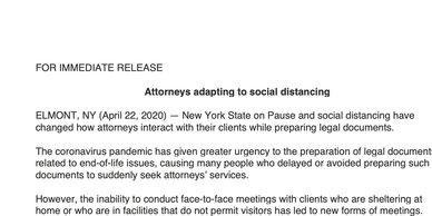 Annabel Bazante Law issues a press release on attorneys adapting to Social Distancing in New York